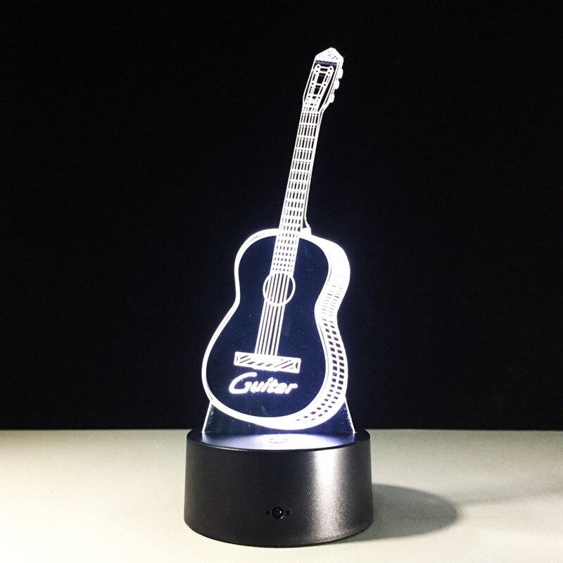 Творческий ночник Электрогитары иллюзию 3D лампа <font><b>LED</b></font> 7 цветов Изменение Запасные Аккумуляторы для телефонов контроллер стол свет Спальня Дек&#8230;