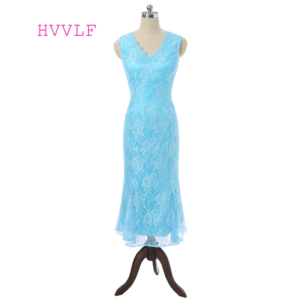Turquoise 2018 Mother Of The Bride Dresses Mermaid Tea Length Lace ...