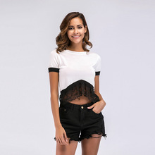 YYFS 2019 New Sexy Womens Knit Stitching Lace Short Section Navel Short-Sleeved T-shirt Female Thin Solid Color
