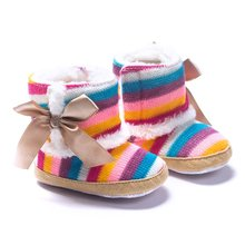 Newborn Baby Snow Boots Rainbow Print Wool Infant cotton Padded Winter Shoes Boots