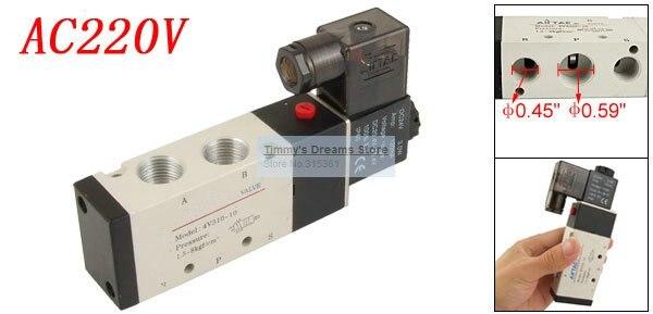 Free Shipping 3/8'' 4V310-10 AC 220V Pneumatic Solenoid Air Valve Inner Guide Type 5 port 2 position dc24v inner guide type 2 position 3 way solenoid valve