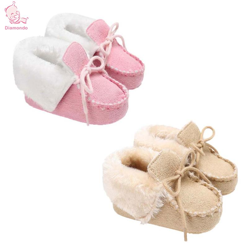 Cute Baby Toddler Shoes First Walkers Winter Warm Soft Soled Prewalker Infant Moccasins Lovely Snow Shoes for 0-1 Year Old Baby
