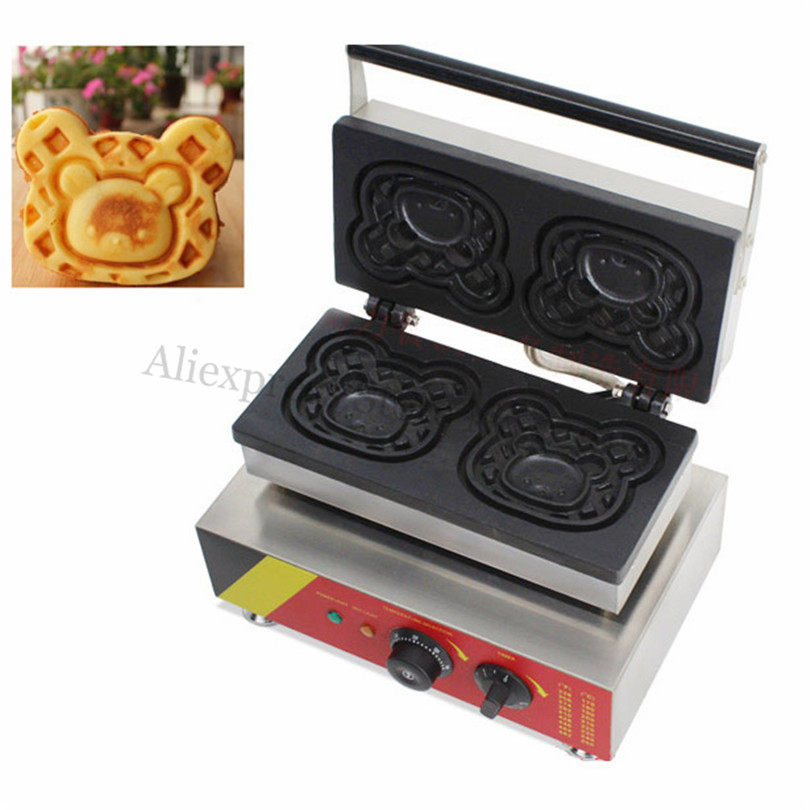 Electric Cartoon Bear Waffle Machine Stainless Steel Bear Shape Cake Maker 110V 220V Brand New cukyi household electric multi function cooker 220v stainless steel colorful stew cook steam machine 5 in 1