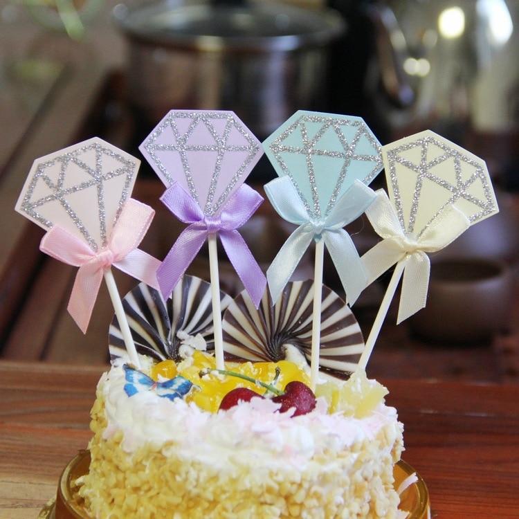 5pcs/lot Diamond Birthday Wedding Cake Topper Cupcake Flags Party Baking Decor Baby shower