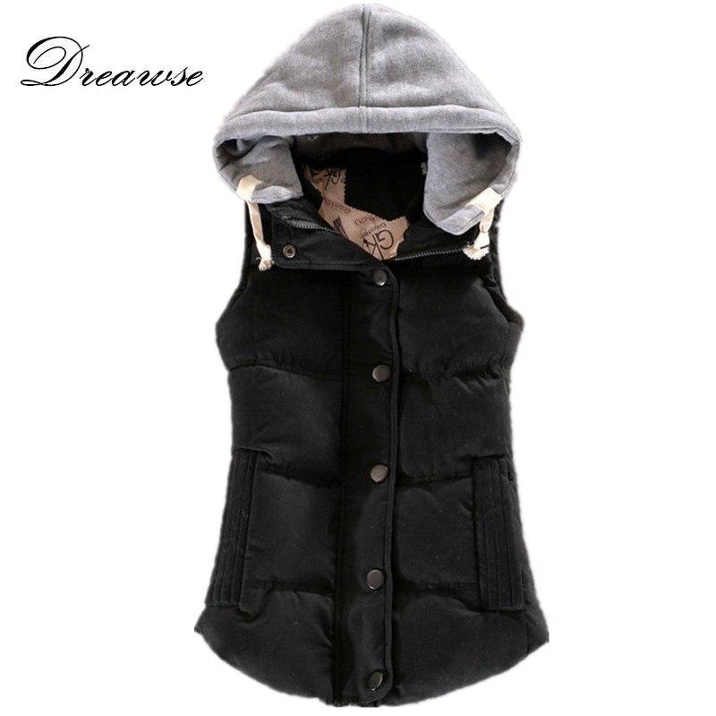 Dreawse outono inverno moda algodão colete feminino retalhos sem mangas gola com capuz casaco casual colete feminino mz1517