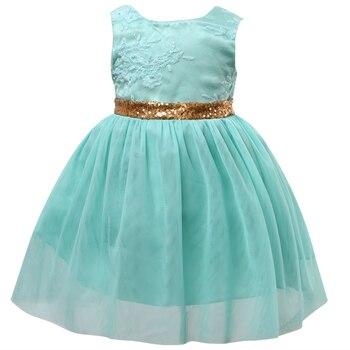 a80ea104fba Flor de verano chica chico princesa boda bordado vestidos sin mangas de tul  verde de fiesta Formal de lentejuelas vestido de baile vestido de 2-7Y