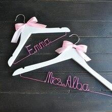 Персональная Свадебная Вешалка, розовая проволочная вешалка, вешалка для свадебного платья, вешалка для невесты на заказ, Цветочная девочка, подарок для невесты