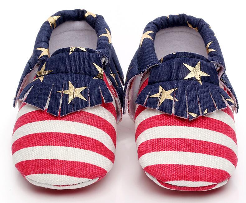 Striped Star Infant Canvas Shoes Tassel Newborn First Walkers Moccasins Soft Moccs Baby Infant Kids Prewalker Shoes