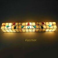 Новый люстра в средиземноморском стиле оболочка Настенные светильники бабочка цветок Настенный Бра в виде ракушки зеркало огни прикроватн