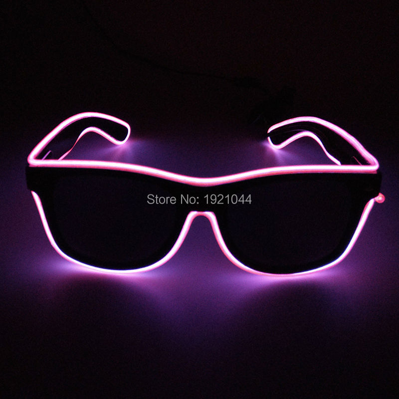 Hot Sales Crazy EL Wire Glowing Sunglasses with Black lens Luminous Party Lighting Colorful Lighting Glasses for Party Decor