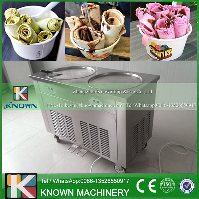 Christmas Promotion! Free shipping supply the KN-2A Double round ice pan of fried ice cream roll machine with R410A Refrigerant!
