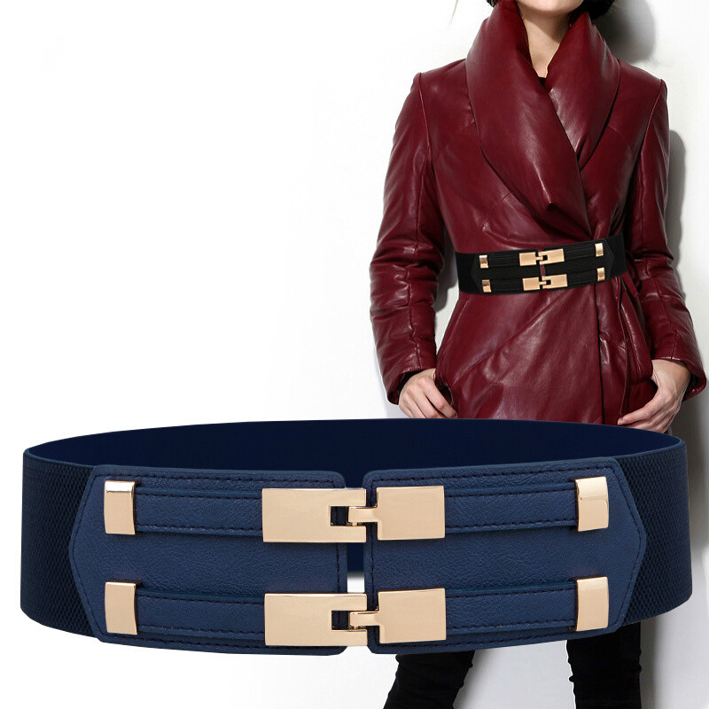 Simple Fashion Belt For Female 6cm Wide PU Leather Women Various Solid Colour Double-Breasted High-Elastic Ladies Waist Sealings