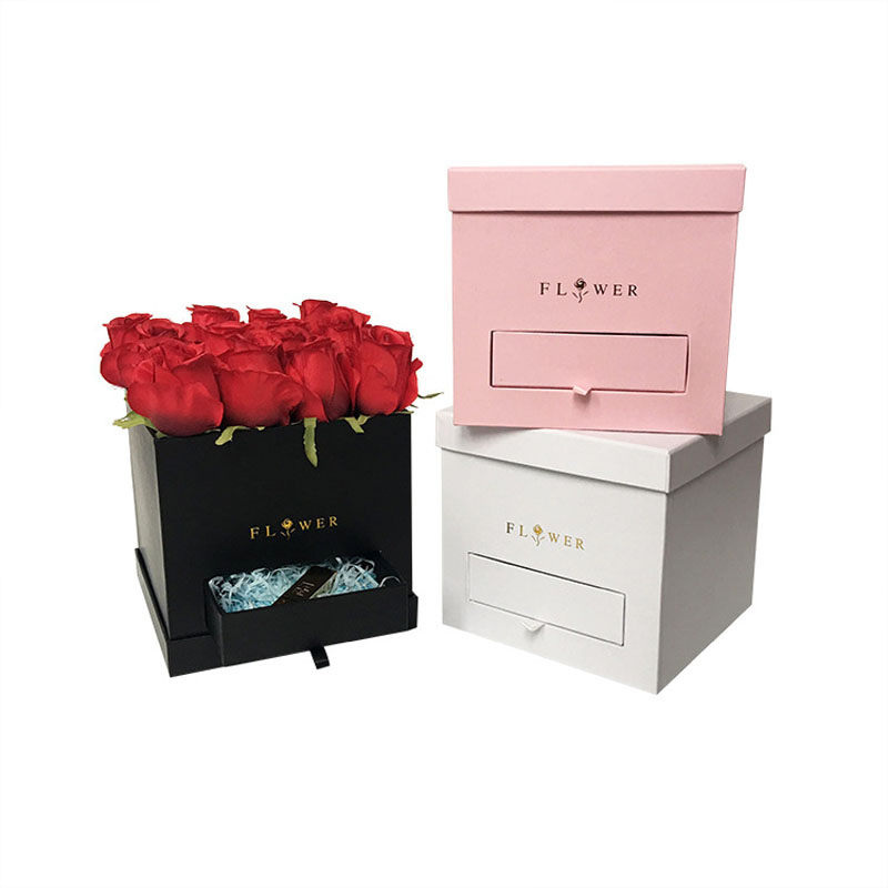 Square Drawer Box Flower Box Florist Packing Gift Box With Lid  Weeding Party Gifts For Guests Flower Bouquet Package 21*21*19CM