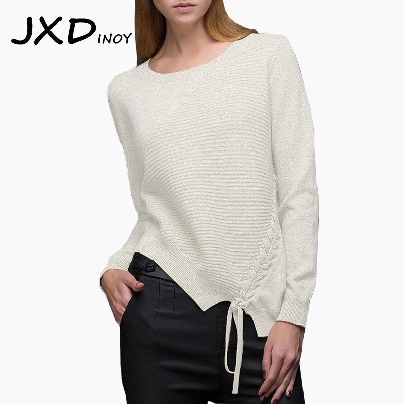 JXDINOY Sexy thick pullovers sweater women Autumn winter retro jumper Stripe bandage Oblique cut design Elegant sweaters