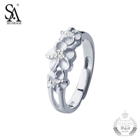 Sa Silverage Ring 925 Silver Flower Ring Girl With Cz Sterling Silver Jewelry Women S925 2017