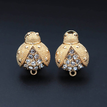 Clip Earring Post with Loop Connectors Paved CZ Solid Bee Chile India African Women Wedding Earrings Findings DIY Jewelry Making