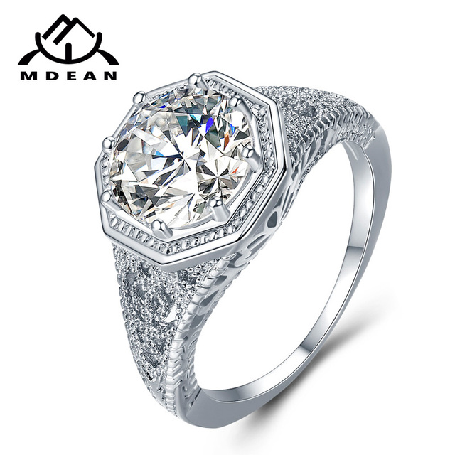 MDEAN White Gold Color Wedding Rings AAA Zircon Jewelry for Women Engagement Fem