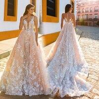 Robe De Mariage 2017 Lace Wedding Dresses V Neck Sleeveless Illusion Back Lace Apllique Bridal Gowns