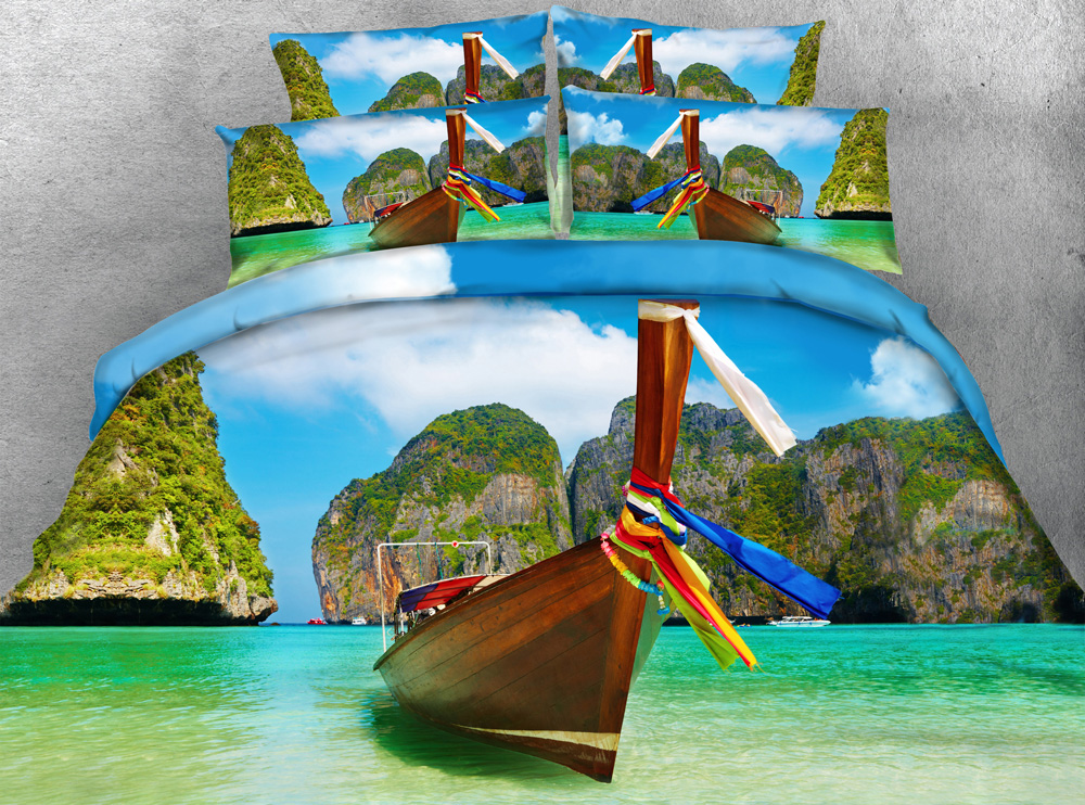 3D Printed Comforter Bedding Sets Twin Full Queen Super Cal King Size Bed Cover Bedspread Blue Green Natural Beauty Scenery Boat3D Printed Comforter Bedding Sets Twin Full Queen Super Cal King Size Bed Cover Bedspread Blue Green Natural Beauty Scenery Boat