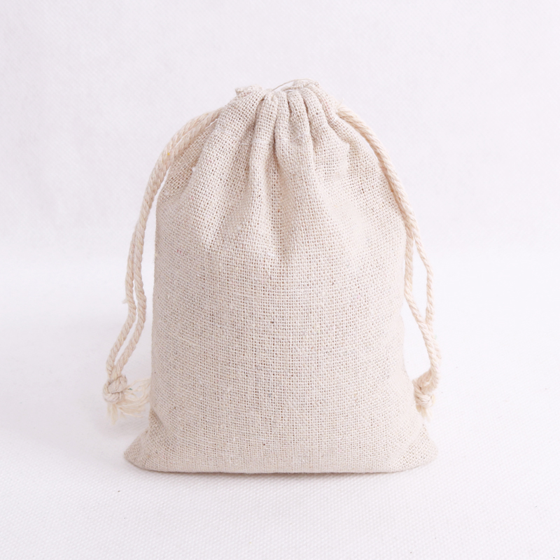 50pcs/lot Natural Cotton Bags 8x10cm Small Wedding Favors Linen Drawstring Gift Bag Muslin Candy Jewelry Packaging Bags Pouches