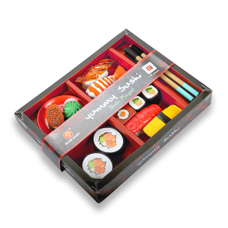 Children Early Learning Toy Japanese Sushi Model Puzzle Pretend Play Toys As Gifts 13PCS PVC Simulation Food Kitchen Sushi Set