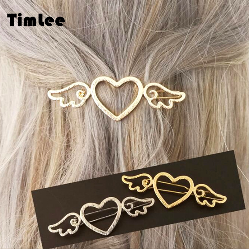 Timlee H135 Free shipping Sweet Fashion Heart Wing Hair pins Hollow Metal Hair Accessary Gift,wholesale