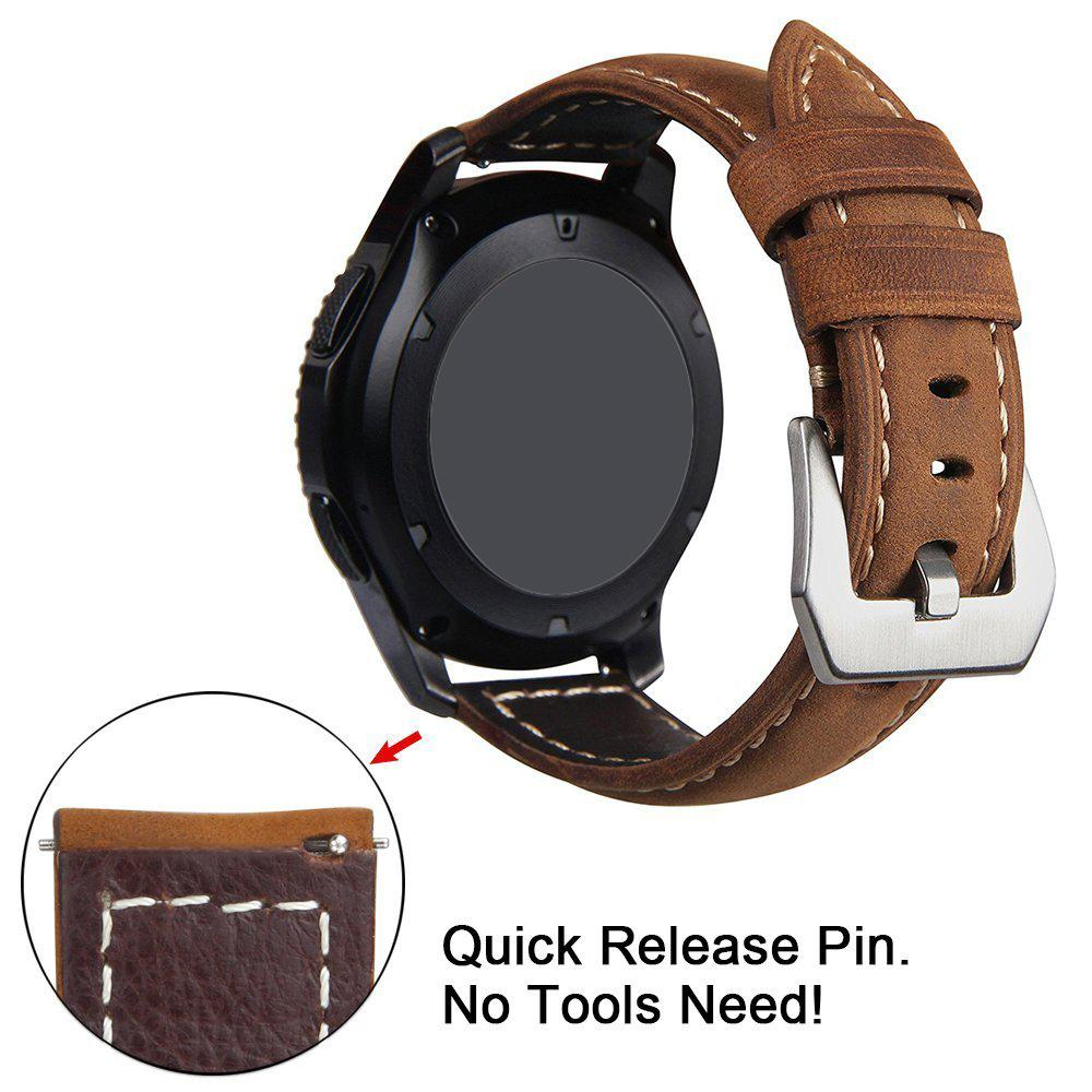 US $10 42 21% OFF|20mm Genuine Leather Band Strap With Quick Release for  Samsung Gear Sport /Garmin vivoactive 3/ Music/ TicWatch2/E WristBand-in