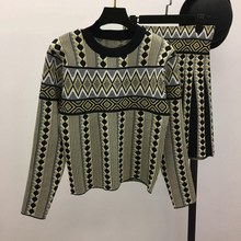 Winter Autumn Geometric Prints Casual Sweater Skirt Suit Pullover Knitted Sweater Skirt O-Neck Women Fashion Two Piece Sets