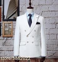 Custom Made white men double breast Suit Retro gentleman Classic Men Slim Fit Wedding Suit (jacket+pants)