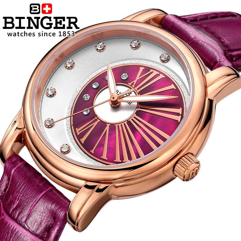 Suisse Binger montres pour femmes diamant de luxe top marque horloge bracelet en cuir quartz étanche montres B1137 5-in Montres femme from Montres    1