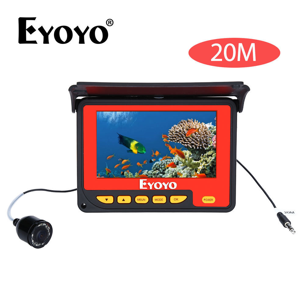 EYOYO F05 4.3 20M Infrared IR High Definition Underwater Ocean River Boat Ice Fishing Camera Video Fishfinder Fixed on the Rod girl on the boat