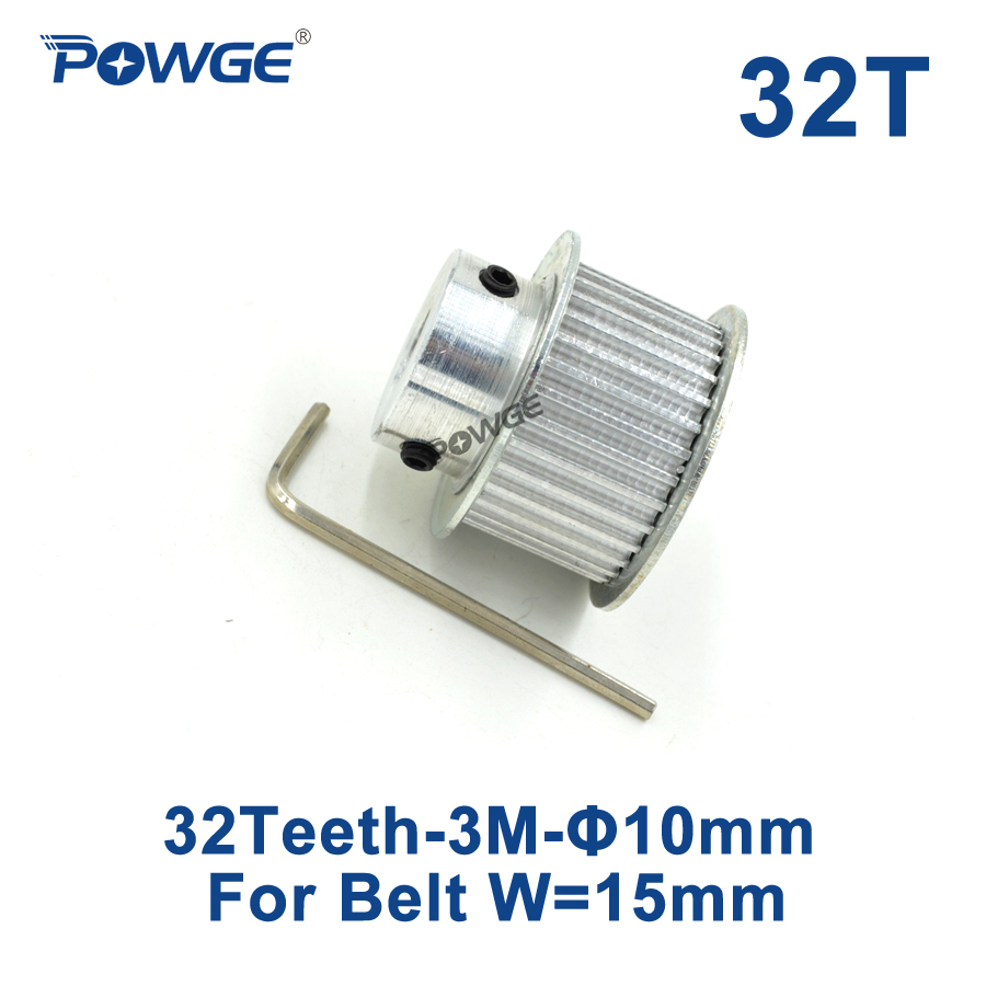 POWGE HTD 3M Timing Pulley 32 Teeth inner Bore 10mm for Width 15mm 3M Synchronous belt HTD3M pulley gear wheel 32Teeth 32T htd 5m pulley timing pulley 5m50t timing belt synchronous wheel pulley fit belt width 15mm