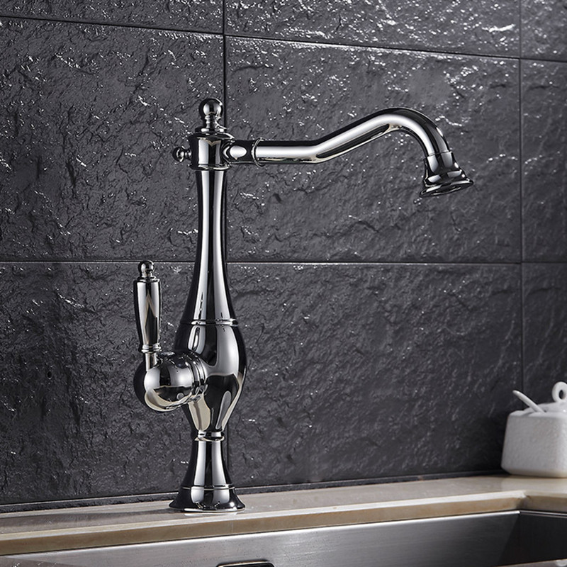 Luxury single handle brass kitchen sink mixer tap with high quality polished chrome kitchen sink faucet of hot cold mixer tap micoe hot and cold water basin faucet mixer single handle single hole modern style chrome tap square multi function m hc203