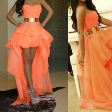 Stunning Free Shipping Gold Belt Front Short Long Back Prom Dress Evening Gown