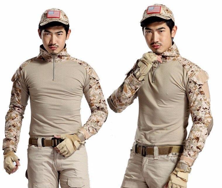 Armáda Camouflage Tactical T Shirt Pánské Dlouhý rukáv Fitness Vojenské Uniforma Combat Oblečení s lokty Chrániče Venku T-Shirt  t