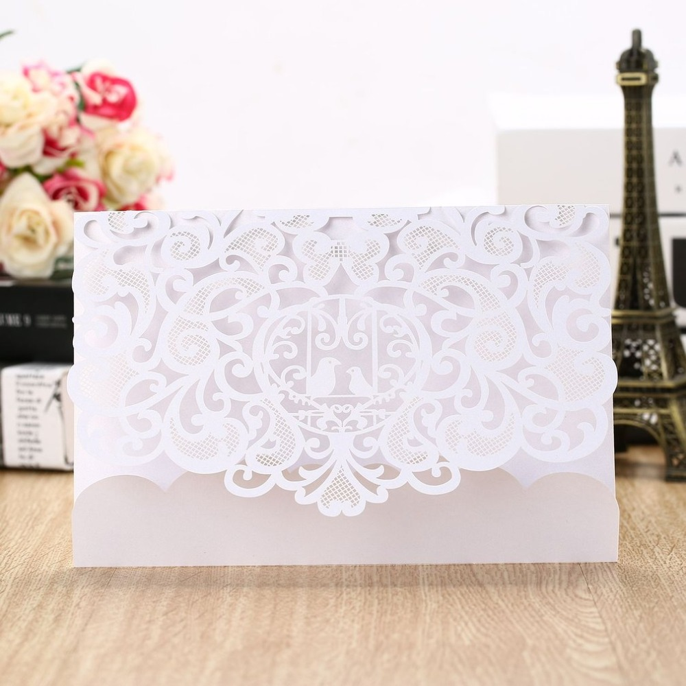 20pcs Foldable Invitation Card Cover Exquisite Hollow Out Little Birds Printing Cover for Wedding Party Use Dropshipping