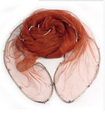 Женский летний Одноцветный полосатый шарф из органзы, украшенный бисером, женский весенний золотой ободок, длинный бисер, тонкая мягкая шаль - Цвет: 8