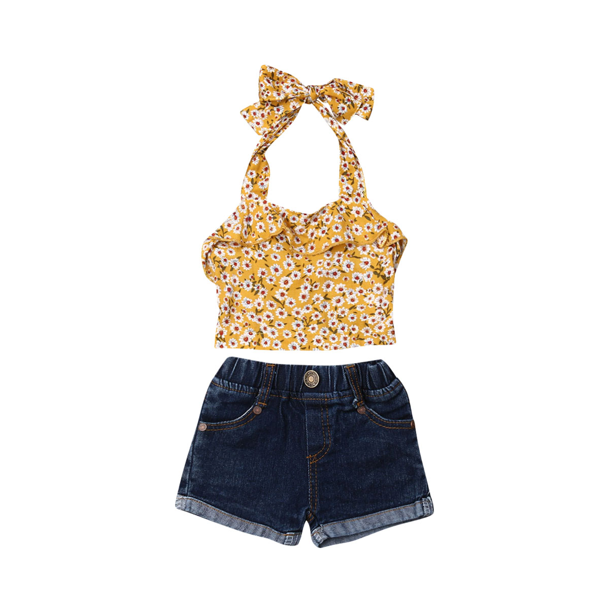 New Summer Toddler Baby Girl Clothes Floral Halter Tops Denim