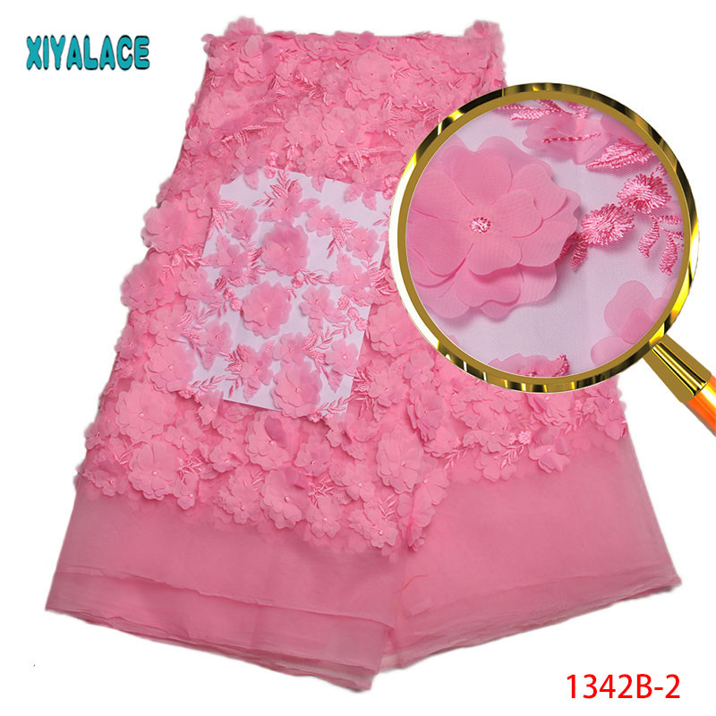 Nigerian Lace Fabric 2018 High Quality Lace Pink 3d flower African Lace Fabric Embroidery French Lace