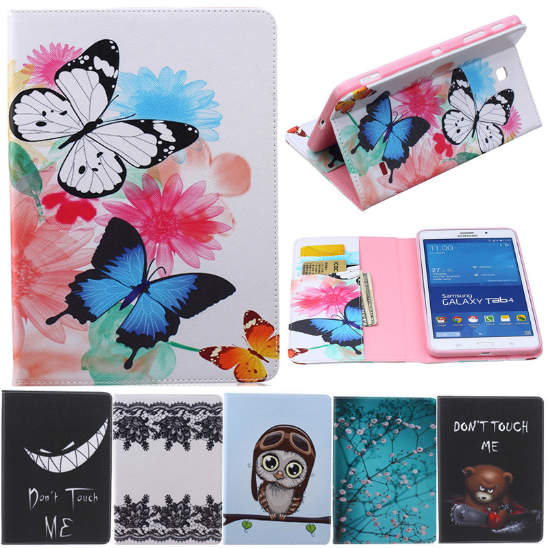 Butterfly Owl Cartoon PU Leather Flip Stand Cover Cases For Samsung Galaxy Tab 4 7.0 T230 T231 T235 Tablet Cover Case Fundas