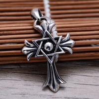 Fasion 925 Sterling Silver Cross Army Flower Star of David Pendant Necklace Men Thai Silver Choker Jewelry Gift CH058148