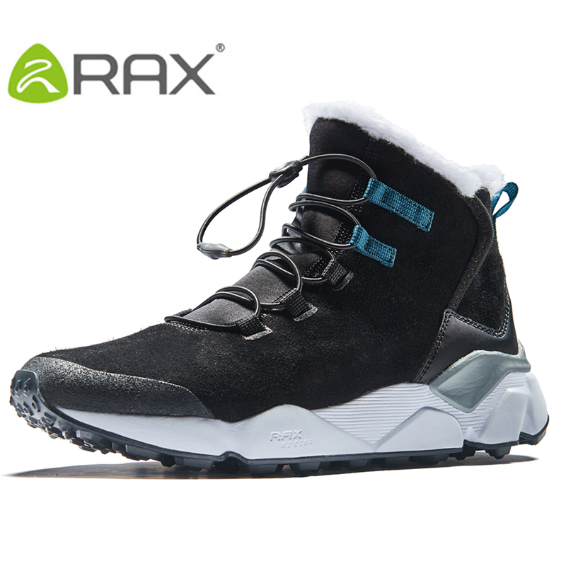 RAX/Мужская обувь для походов, новейшие зимние ботинки, Нескользящие ботинки, с плюшевой подкладкой, на среднем каблуке, в классическом стиле,...