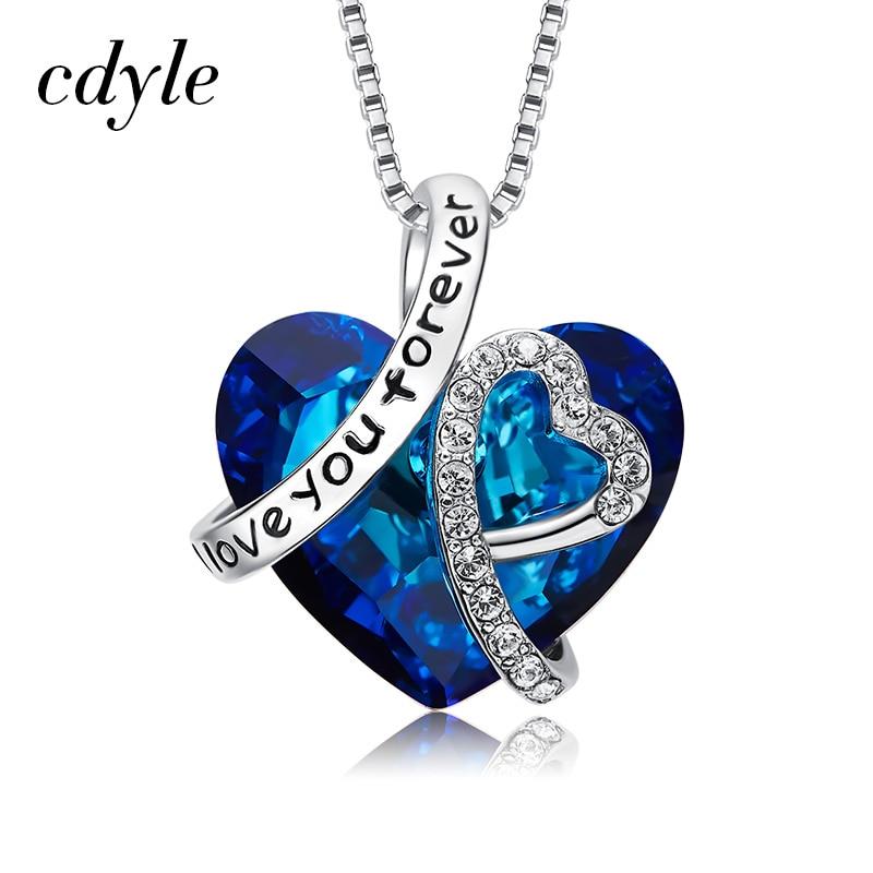Cdyle crystaux de swarovski 925 Sterling Argent Je T'aime Pour Toujours Pendentif Coeur Collier Romantique Le Coeur De La Mer Charme