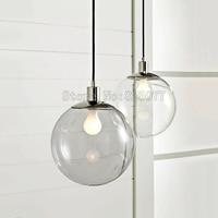 Designer Lights Crystal Ball Continental Restaurant Bar Single Minimalist Glass Ball Pendant Light Clear Glass Ball