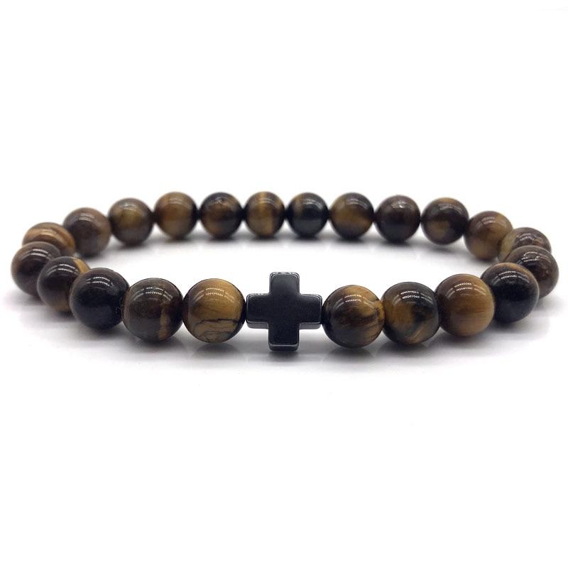 Classic Cross Charm Men Bracelet 8mm Natural Lava Gray Stone Beaded Bracelet For Women Men simple loves Jewelry Gift
