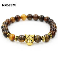 New Fashion Antique Gold Color Leopard Head Charm Bead Buddha Elastic Mala Bracelet Tiger Eye Stone Men and Women Yoga Jewelry(China)
