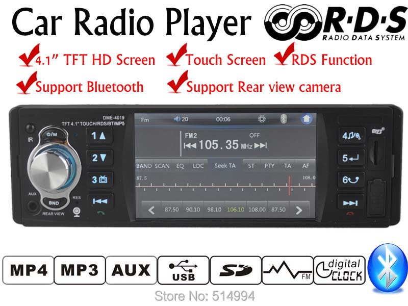 New 1 Din 4.1 Inch TFT Touch Screen Car Radio Player