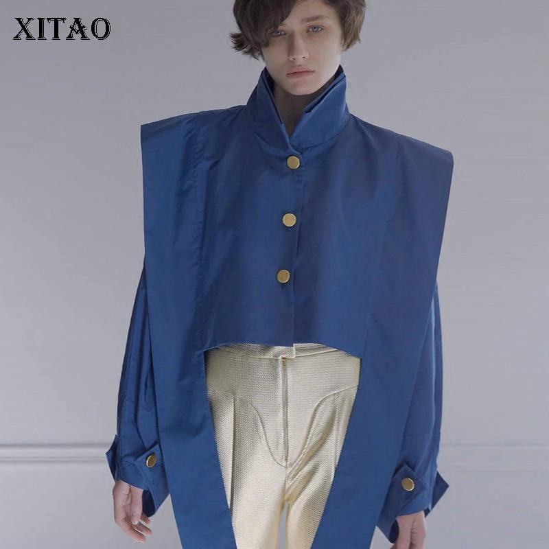 Nouveau Col Rubans Montant Blue xitao Europe Femme Poitrine Royal Mode Femmes Manches Ljt1287 Manteaux 2018 Pleine Unique Vestes Court fq0U0tOw