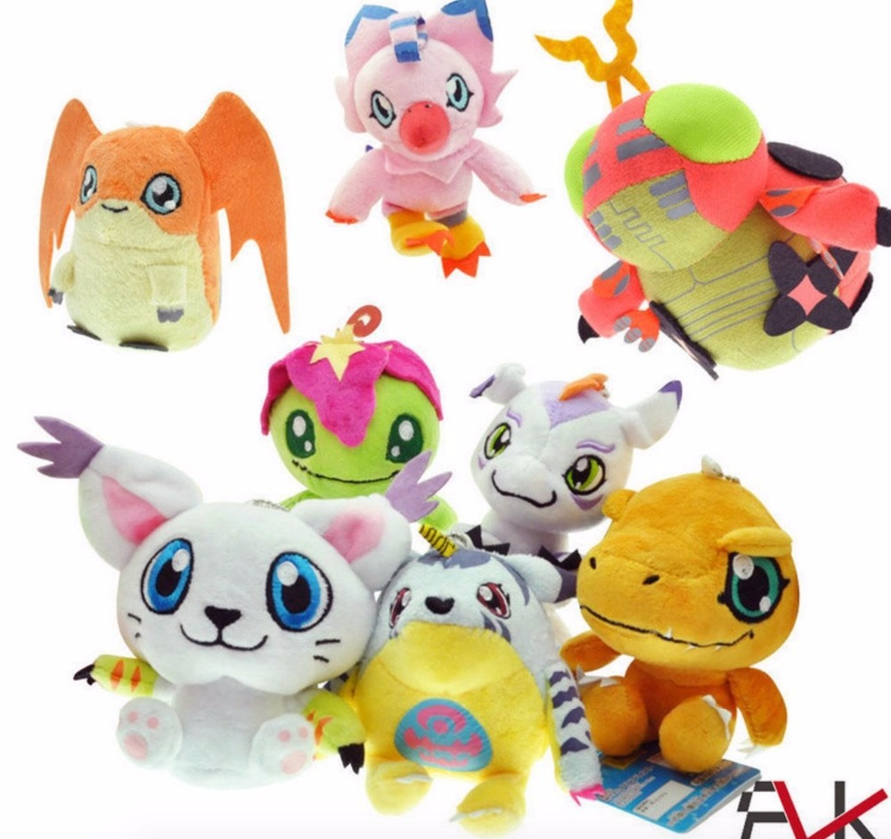 8 Styles 10CM Cute Digimon Plush Toys Gabumon Agumon Gomamon Piyomon Palmon Patamon Soft Plush Toy With Keychain  Free Shipping