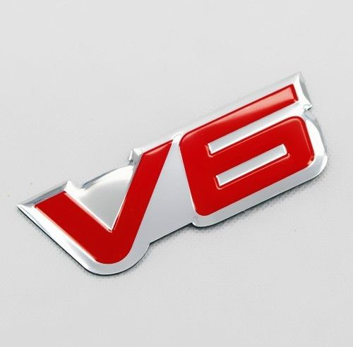 Aluminium Red V6 Emblem Sticker Fit For SUV Pony/Racing Car Rear Trunk Badge Sticker auto chrome camaro letters for 1968 1969 camaro emblem badge sticker